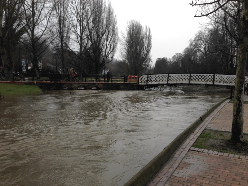 Guildford flooding Boxing day 2013 - Way flowing under bridges into town showing extent of flooding